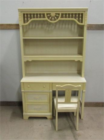 Desk & Shelving Unit w/ Matching Chair